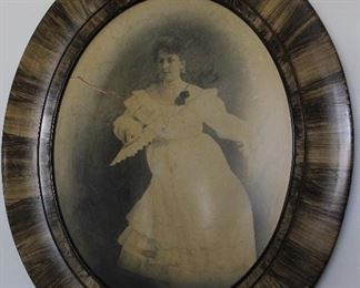 """Antique Hand """"Quill Feather"""" Stained Oval Framed Portrait (18"""" x 22"""")"""