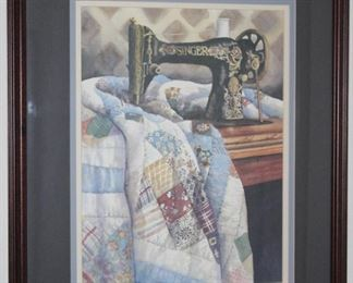 """PatchWork Quilt"""" Signed and Numbered Print by Carolyn Watson Doubled Matted and Framed (19.5"""" x 23.5"""")"""