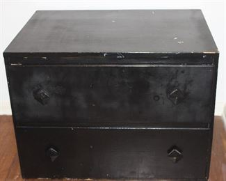 Vintage black paint 2 drawer low boy chest