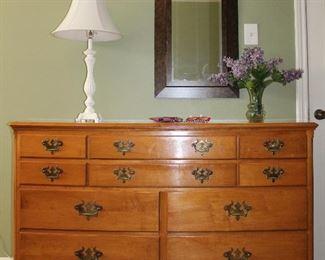 """Willett furniture solid maple handcrafted  dresser with mirror. Dresser (56"""" W x 21"""" D x 35"""" H) Mirror (46""""W x 34""""H)"""