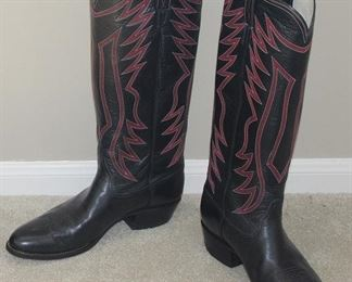 """El Vaquero Custom Handmade Black Leather 18""""H with Red Top Stitching Western Boots (Like New)"""