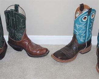 M.L.Leddy's Custom Handmade Navy/Brown Western Boots.  Justin's Men's Bent Rail Aqua/Brown Western Boots