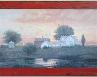 """GIclee on Canvas Signed by Artist with Primitive Stained Red Wood Frame (40 3/4"""" x 24 3/8"""")"""
