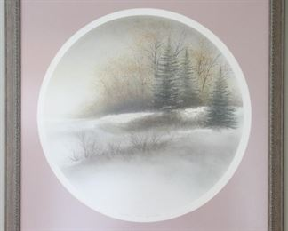 """""""First Snow,"""" by the Door County, Wisconsin Artist Arnold Alaniz (1943-). Titled, Signed and Numbered. Dimensions (approx.): Image 18-1/2"""" diameter on 25-1/2"""" H x 21-1/2"""" W Paper Matted with Pressed Oak Frame.  Overall 26"""" x 28"""""""