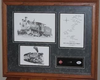 """Rio Grande Southern Railroad Memorabilia Double Matted with Oak Frame:  H.L. Scott Signed, Embossed and Numbered Locomotive Print (10"""" x 7""""), H. L. Scott 7""""x 5"""" Print, Railroad Route Map prior to 1951 Abandonment and Selection of 3 Pins(22 3/8 x 18 3/8"""") Railroad Art by Scotty Info Sheet on Back"""