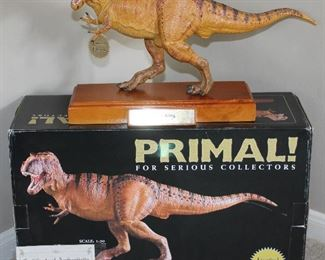 Tyrant King figure with wood base from Safari Ltd. PRIMAL! for Serious Collectors. Scale is 1:20. Includes Certificate of Authenticity.