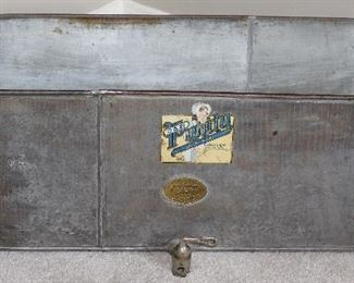 """Antique Galvanized Trough with Spigot with O&B Purity Line Paper Label and Gregory Purity Milk Cooler Size 3 on Brass Label (28 3/4""""L x 10""""W x 10""""D)"""