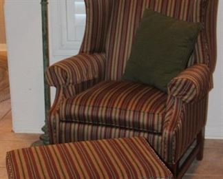 Ethan Allen Chippendale Style Ribbon Stripe Upholstery Winged-Back Arm Chair with Ottoman