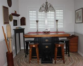 Breakfast Room View Counter Height Pub Pedestal Table Center Drawer Storage and Wine Storage with 4 Stools