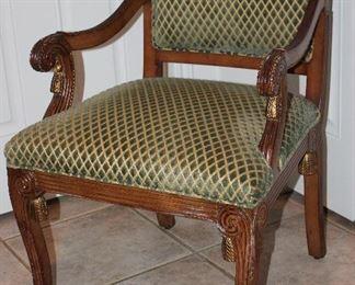 MARK DAVID Bergere Sage Green Cut Velvet Upholstery Scroll Arm Chair