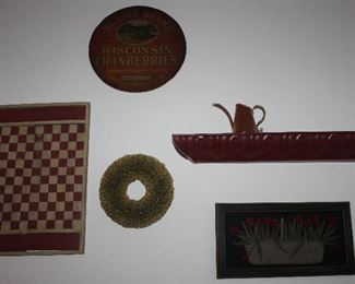 """Wall Decor:  Vintage Beaver Brand Wisconsin Cranberries  Barrel Lid Sign (16""""D), Replica Red and White Game Board, Vintage Paper Cone Wreath 10 1/2"""",  Embossed Tin Pediment shelf 31"""" X 4"""") ,   Butte Copper Co Hammered Watering Can,  Vintage Wool Appliqué Tulips Frame (19.5"""" X 10"""")"""