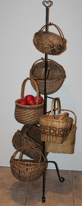 "Longaberger Basket Wrought Iron Basket Stand (65"") with Numerous Antique/Vintage Baskets"