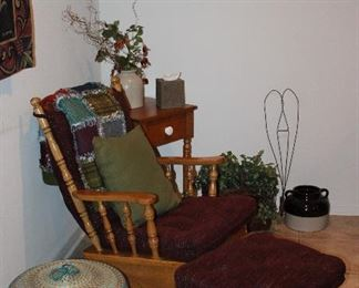 Glider Rocker with Glider Stool shown with Large Basket w/Lid