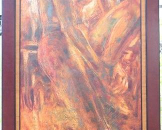 """Original Abstract Nude on Canvas Signed by Artist """"Romney 04"""".   Overall Measurements with solid Wood Frame (31""""x 54"""")"""