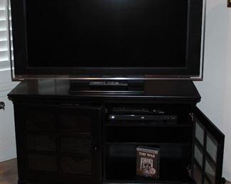 "Sony Bravia 46"" LCD HDTV Model #KDL46XBRA  on a Black Glass Pane Double Door TV Stand"