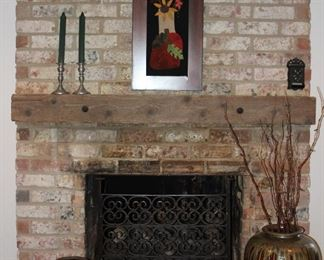 """Fire Place View"""". Antique Wrought Iron Fireplace Screen (Pair Web Pewter CandleStick and Black Wrought Iron Match Safe on Mantel (28 3/4' x 27"""" to base of candle stands.  Brown Salt Glaze Beehive Jug and Pickle Crock"""