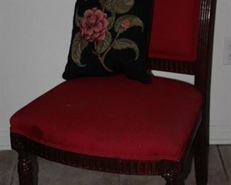Mark David Vintage Red Upholstered Solid Wood Frame Side Chair.  St Simons Island GA, Tapestry Floral Pillow Made in France