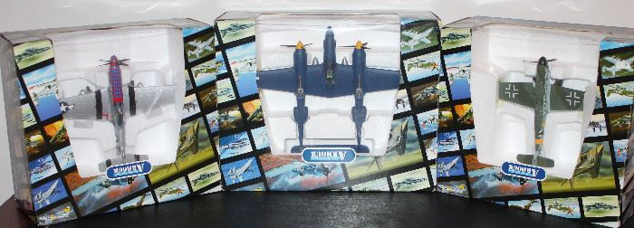 "Franklin Mint Armour Collection:  P51d Mustang ""Jersey Jerk"", P38 ""Lighting Jack"" and Messerschmitt Me-bf109G, Wimmersol Mint in Box"