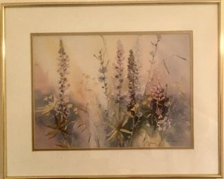 Karlyn Holman Signed and Numbered Water Color Print,  Matted and Framed in Brass Metal Frame.