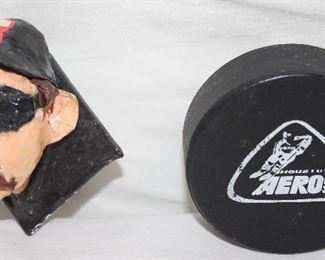 Dale Earnhardt Caricature Magnet .   Vintage Houston Aeros WHA  Official Game Hockey Puck Made in Canada