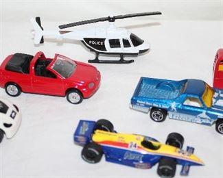 "Nano Auto Silverlit ""Eagle"". Maisto VW Golf CTI, Maisto Police Helicopter,  Johnny Lightning 1999 Playing Mantis, Hot Wheels 1970 Chevy El Camino Freestyle  & Matchbox Originals Red Double Decker Bus"