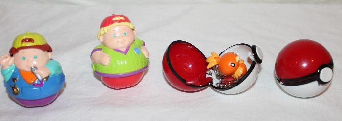 """Hasbro Weeble Wooble People 2000 Rolling """"Weebles"""".  Nintendo Pokemon Basic Fun BFI Pokeball Keychain 1999 and Pokeball w/o Keychain"""