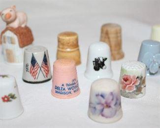 Thimble Collection:  Limoges France Porcelain, Hand Painted Floral Iceland 1973, Ensco Porcelain Pig on Barn Thimble Cover, Hand-painted Wood Thimble, Plastic Advertisement, Bicentennial, etc.