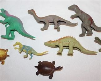 Misc. Vintage Rubber dinosaurs and Turtles