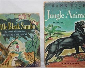 "Vintage ""Little Black Sambo"" by Helen Rannerman Illustrated by Robert Moore C.1942.                                ""Jungle Animals"" (Bring Em Back Alive) by Frank Buck's Illustrated by Roger Vernam c. 1945"
