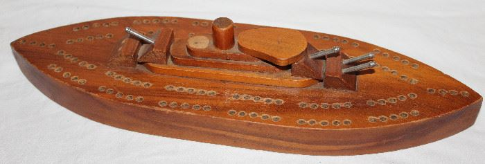 WWII 1940'S Handmade Wood Ships Cribbage Board