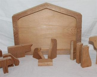 Solid Wood Puzzle Nativity Scene 11 x 14:  shown separated