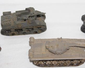 Vintage Die Cast Tanks.  Portion of a collection of 10