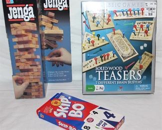 1986 Jen ga, Skipbo card game, and solid wood Teasers with 7 brain busters