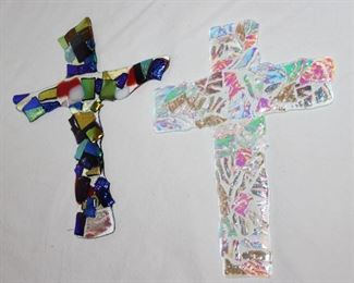 """Art Glass """"End of Day"""" Type 9"""" Crosses"""