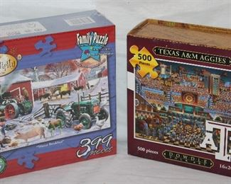 """Serenity """"Winter Breakfast"""" family puzzle and A&M Texas Aggies Dowdle folk art puzzle"""