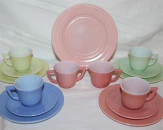 20th Century Little Hostess by HAZEL-ATLAS 3 Piece Service for 4: Childs Plate, Cup & Saucer and Moderntone Pink Salad Plate
