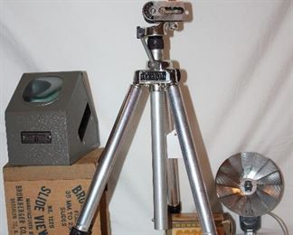 Brumberger vintage slide viewer #1225 (Needs rewiring).  Whitehall travelite tripod.  Honeywell tilt-a-mite flash unit.