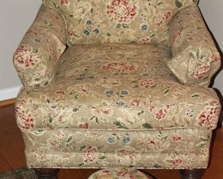 """Taupe Floral Upholstered Vintage Easy Chair show with an Antique Mahogany Cabriole Foot NeedlePoint Foot Stool (12""""D x 6""""H)"""