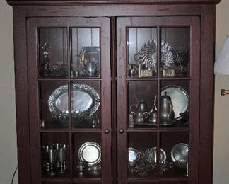 """Deep Red Stained Glass Pane Double Door Cabinet on Bun Feet.  (50""""W x 17""""D x 69.5""""H)"""