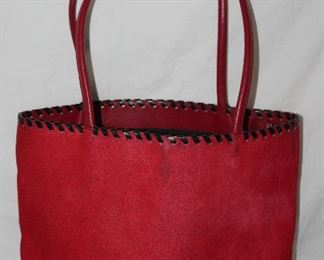 Red dyed horse hair leather tote handbag