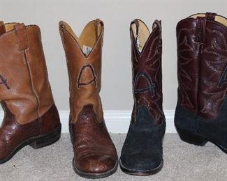 "El Vaquero Custom Handmade 13"" Boots:  Brown Leather/Elephant Boots and Black Suede and Brown Leather Boots"