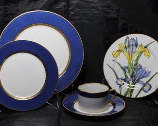 "Fitz & Floyd 1978 ""Renaissance"" Cerulean Blue Dinner Plates (9), Salad Plate (1), B&B Plate (1) and Flat Cup.  Fitz & Floyd (1991-1997) Silverstein-Demdaco ""Iris"" Salad Plate (8ea)"