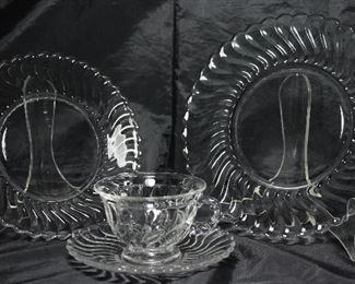 """""""Colony"""" by Fostoria C.1940-1973:                                     Cups and Saucers  (8 ea.), Salad Plates (18 ea.),  Luncheon Plates (3 ea.) Bread & Butter Plates (6)- Not Shown"""