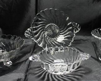 """""""Colony"""" by Fostoria C.1940-1973: Footed Bon-Bon,      2 Handled Sweet Meats Bowl,  Mayonnaise Bowl and 2 Handle Lemon Plate"""