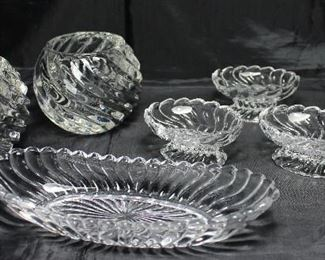"""Colony"""" by Fostoria C.1940-1973:  Oval 7"""" Olive Dish, Set 4 Pedestal Open Salt Cellar.  Also Shown a pair of Swirl Pattern Heavy Glass Candle Votive Holders"""