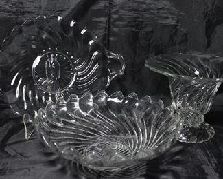 "Colony"" by Fostoria C.1940-1973: 2-Handled Cake Plate (12 3/8""), Large 10 1/2"" Fruit Bowl,   Flared Vase 6 1/4""H"