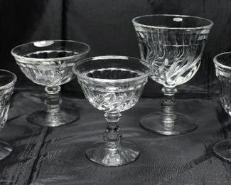 """Colony"""" by Fostoria C.1940-1973:Oyster/Fruit Cocktail (4 ea). Champagne/Sherbert (11 ea.), Liqueur/Cocktail (4), Water Goblet (6), Wine Glass (6 ea)"""
