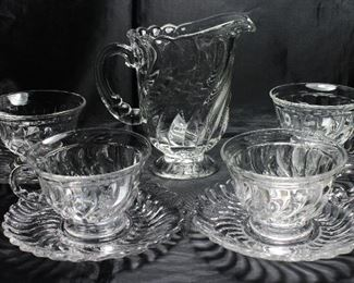 """Colony"""" by Fostoria C.1940-1973: Set of 4 Cups & Saucers and  Pint 16 oz. Cereal Pitcher"""