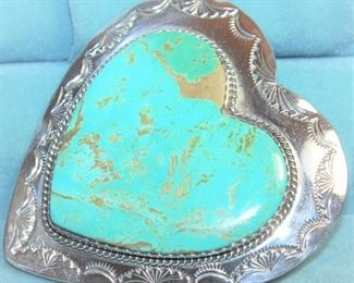 """Large Signed Sterling 2"""" Heart Brooch w/Turquoise Setting."""