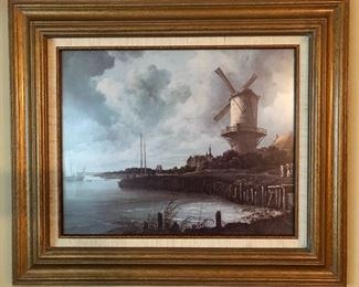 """""""Windmill Near Wijk"""" by Jackson Van Ruisdel Print.  Framed and Matted By Tates Gallery. 1982.    (28 1/8"""" x 24 1/8"""")"""